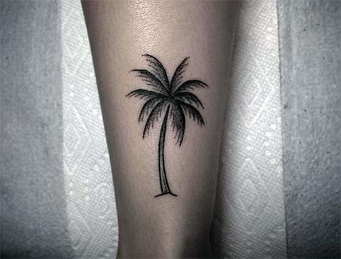 Тату пальма на ноге - фото