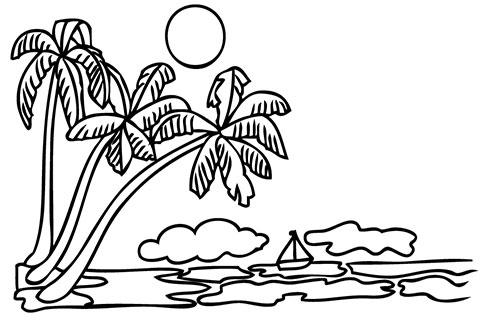 Эскиз для тату с пальмами