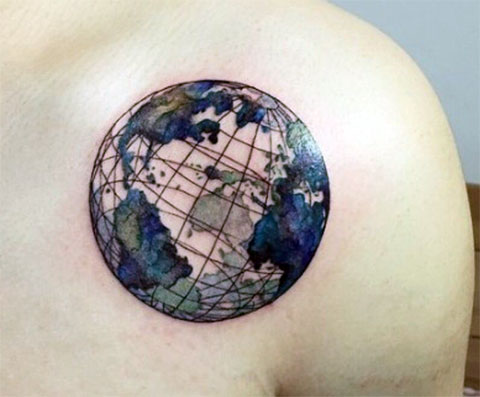 Тату планета земля - фото