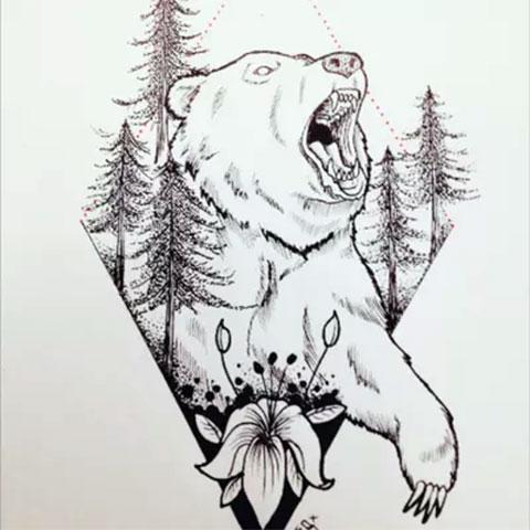 Мужской эскиз для тату с медведем на плече
