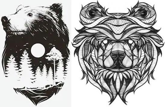 Эскизы медведя для тату