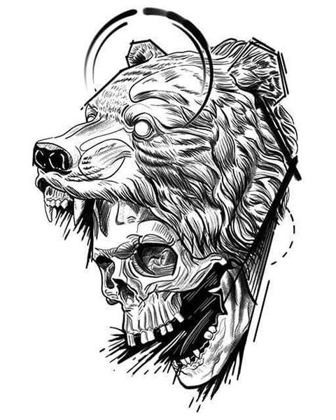 Мужской эскиз с медведем для татуировки на плече