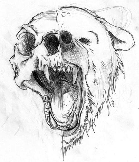 Эскиз для тату с медведем
