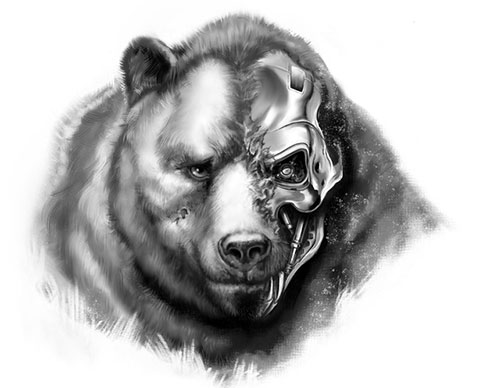 Эскиз для мужской татуировки с медведем на плечо