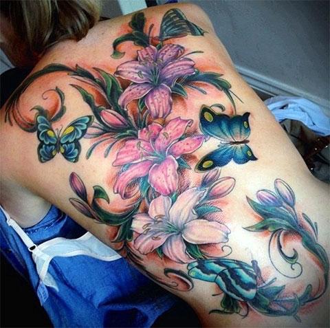 Тату цветы на спине - фото