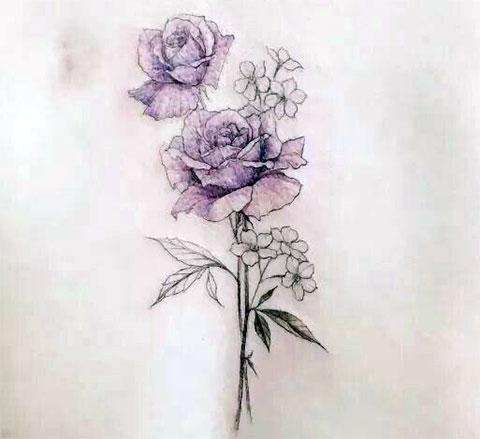 Эскиз для татуировки с цветами на спину