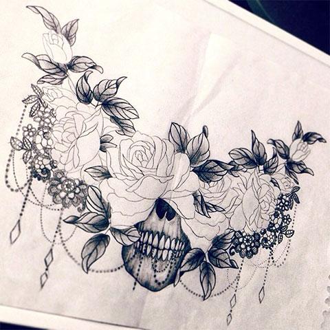 Эскиз для тату цветы на спине