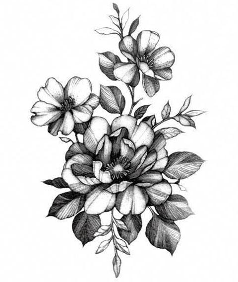 Эскиз цветы для тату на спине