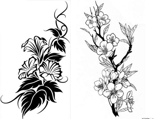 Эскизы цветов для тату на спине