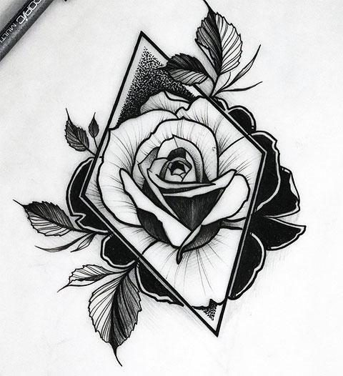 Эскиз для татуировки в стиле графика