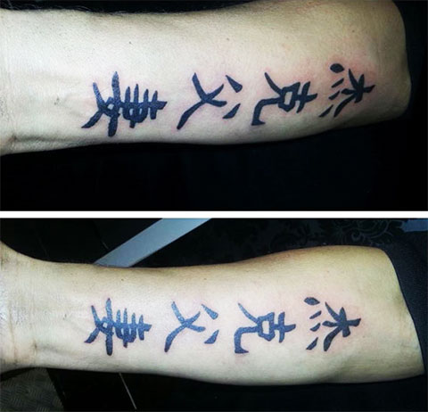 Тату иероглифы на руке