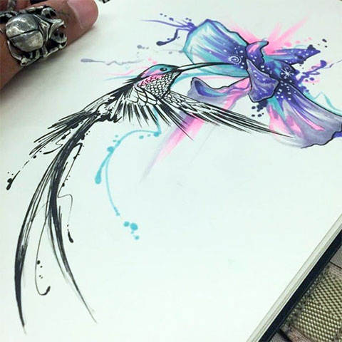 Эскиз для тату колибри