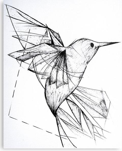 Эскиз колибри в геометрии для тату