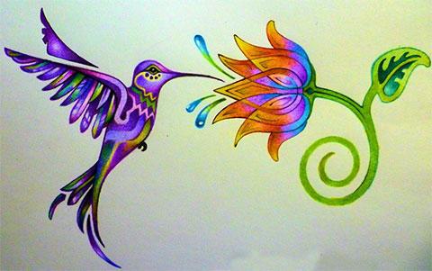 Эскиз для тату колибри с цветком