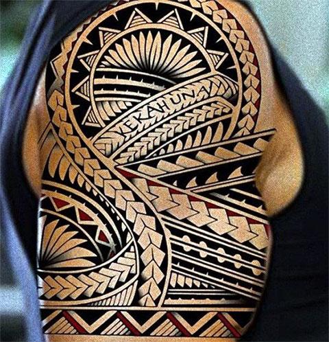 Тату на плече для мужчин в полинезийском стиле