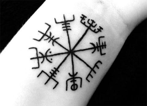 Тату символы на запястье