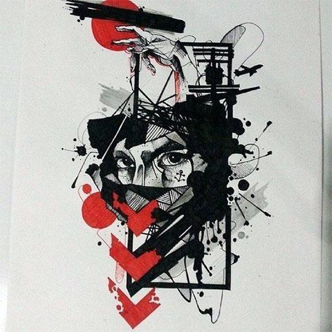 Эскиз для татуировки в стиле треш полька