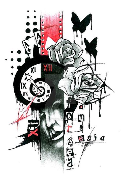 Треш полька - эскиз татуировки
