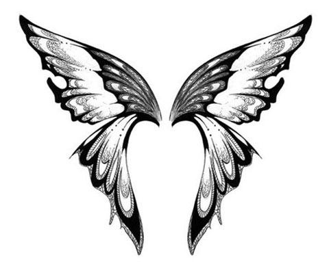 Эскиз для тату крылья на спине для девушек
