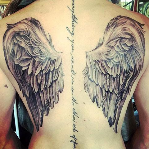 Тату крылья ангела на спине у девушек