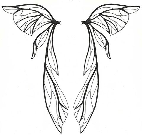 Женский эскиз для татуировки крыльев на спине