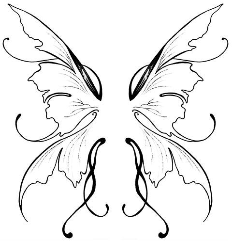 Эскиз для женской татуировки с крыльями на спине