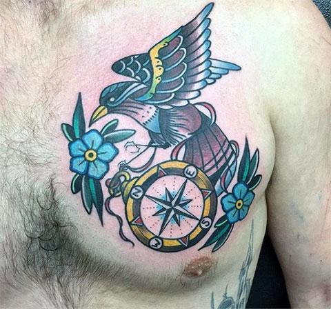 Роза ветров - цветная татуировка