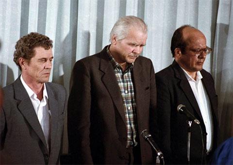 Слева: бывший директор атомной электростанции в Чернобыле Виктор Брюханов, заместитель главного инженера Анатолий Дятлов и главный инженер Николай Фомин во время вынесения приговора