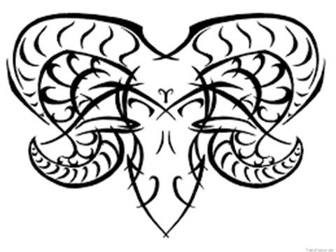 Эскиз для тату овен