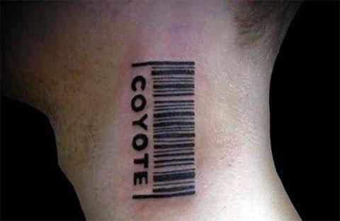 Штрих код на шее - фото татуировки