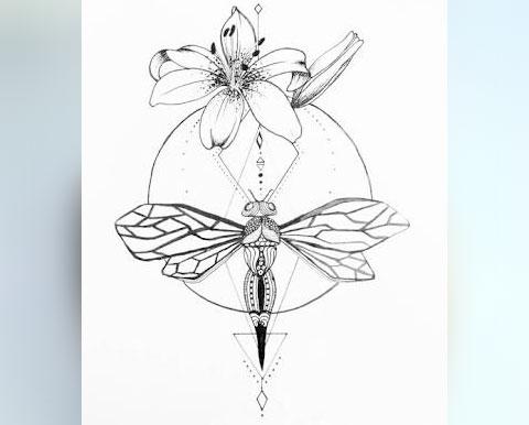 Эскиз стрекозы в стиле геометрия