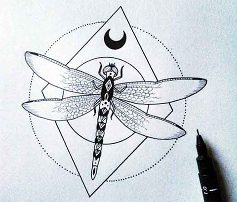 Эскиз стрекозы для татуировки
