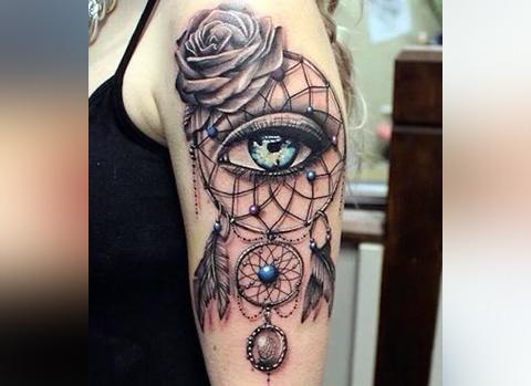 Татуировка ловец снов с глазом внутри
