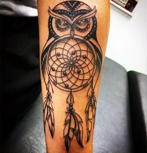 Татуировка ловец снов в виде совы