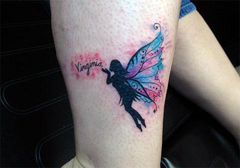 Цветная тату с феей на ноге - фото