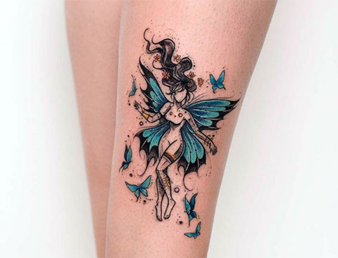 Татуировка фея на ноге - фото