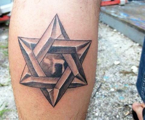 Тату звезда Давида на ноге