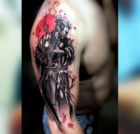 Тату самурай на руке