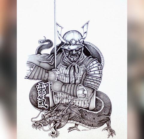 Эскиз тату самурай и дракон