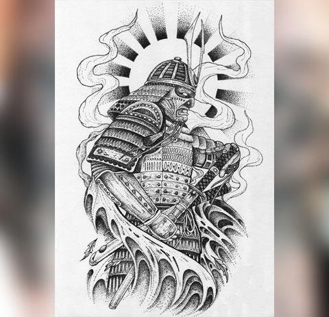 Эскиз тату самурай