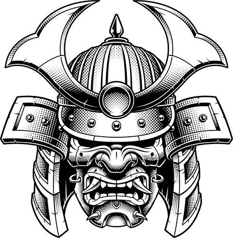 Эскиз тату маска самурая