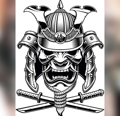 Эскиз татуировки маска самурая