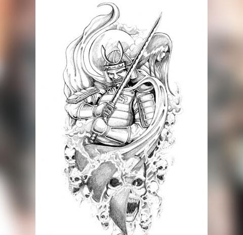 Эскиз татуировки самурай