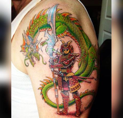 Тату самурай с драконом