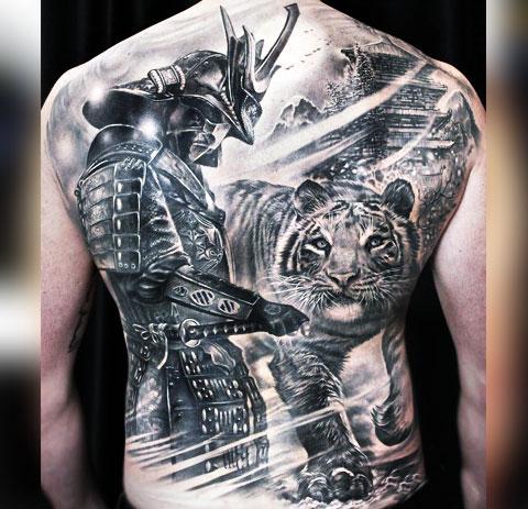 Тату самурай с тигром