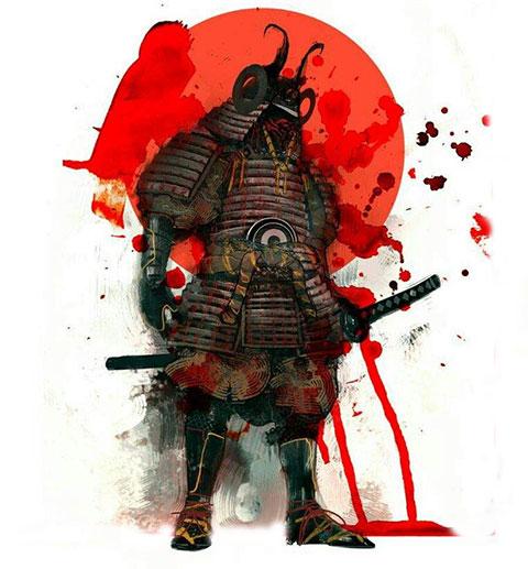 Эскиз для тату самурай с красной луной