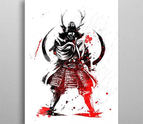 Эскиз для тату самурай