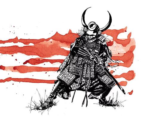 Эскиз для тату самурай с мечом