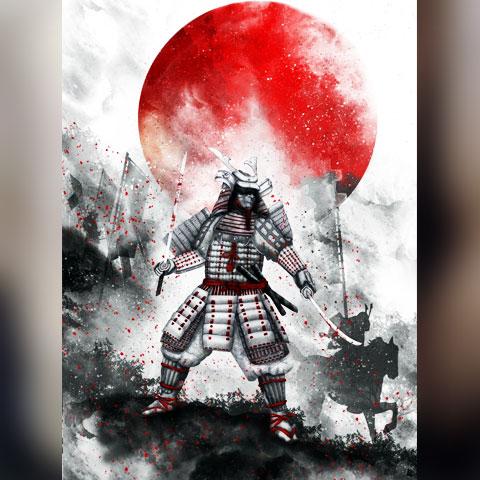 Эскиз тату самурай с красной луной