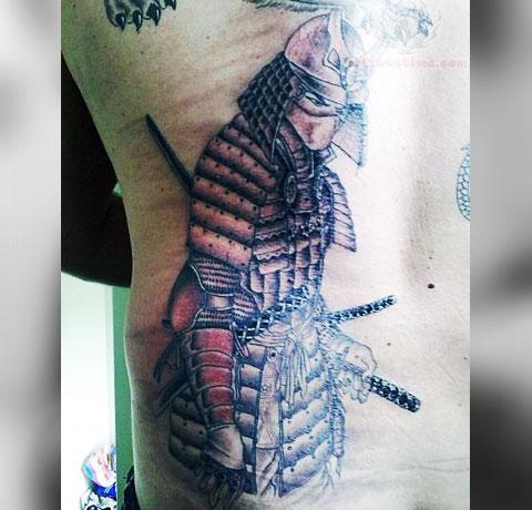Тату самурай на спине